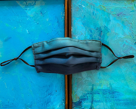 Limited Edition Ombre Teal Silk Charmeuse Maskini