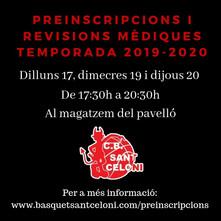 PREINSCRIPCIONS I REVISIONS MÈDIQUES TEMPORADA 2019-2020