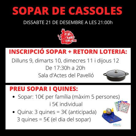 SOPAR DE CASSOLES!!!