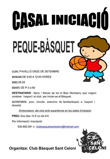 El Club Bàsquet Sant Celoni organitza un casal d'Iniciació el pròxim Nadal