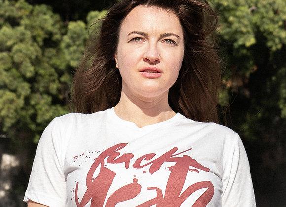 ULTRA-SOFT: White cut-n-sew t-shirt: FUCK YEAH