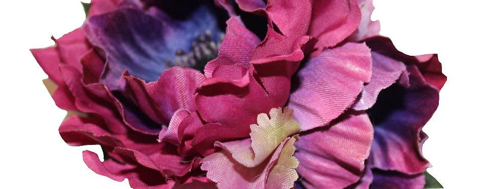 Purple Anemone and Hydrangea Hair Flower