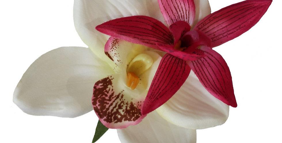 KIKI Cream and Cerise Orchid Hair Flower