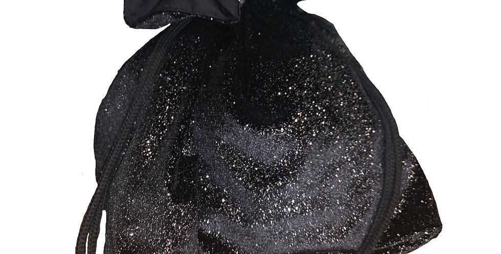 Drawstring Bag - Black Glitter