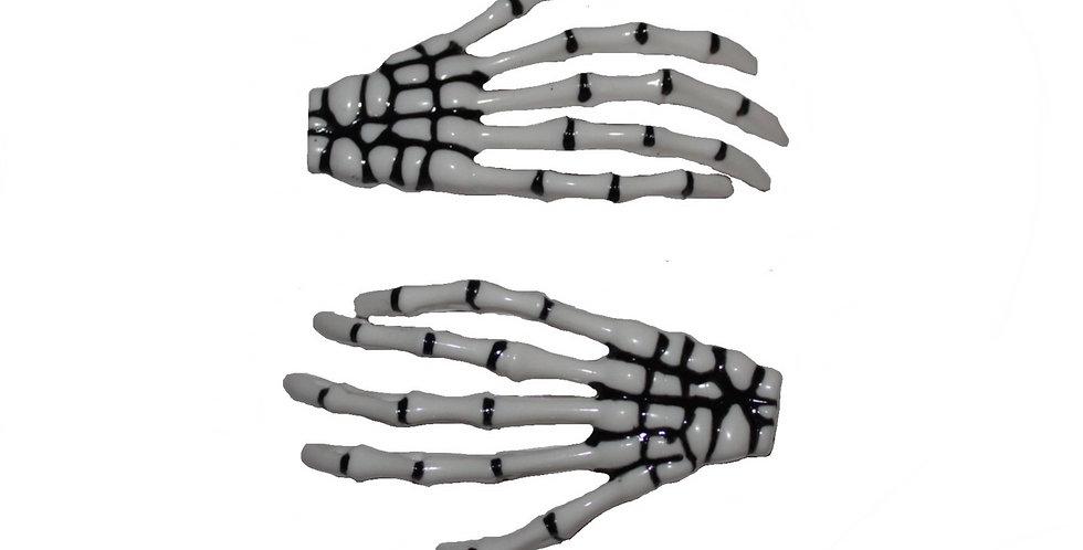 White Skeleton Hand Halloween Hair Slides