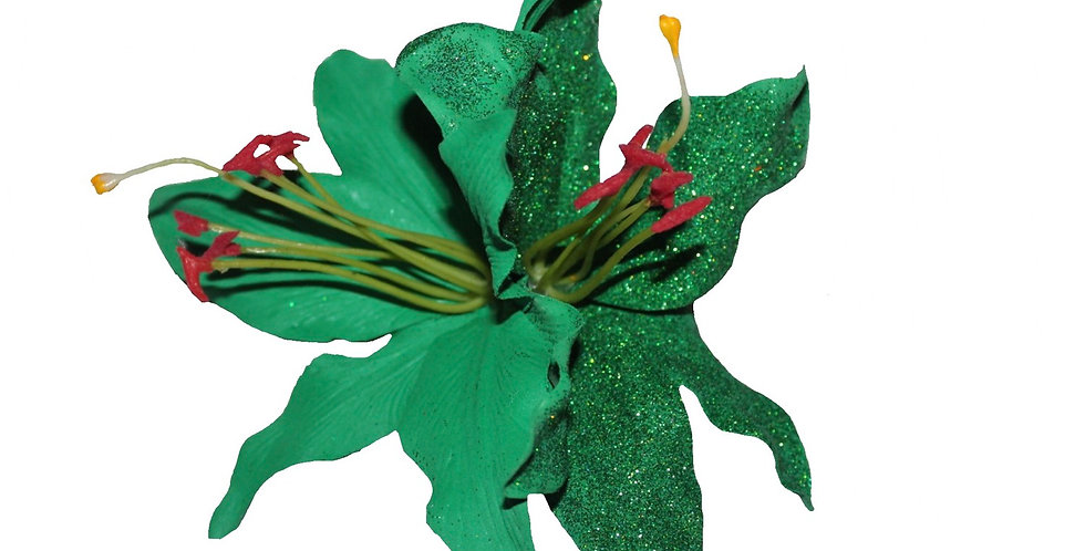 PALOMA Hand Painted Emerald Green and Glitter Double Lily