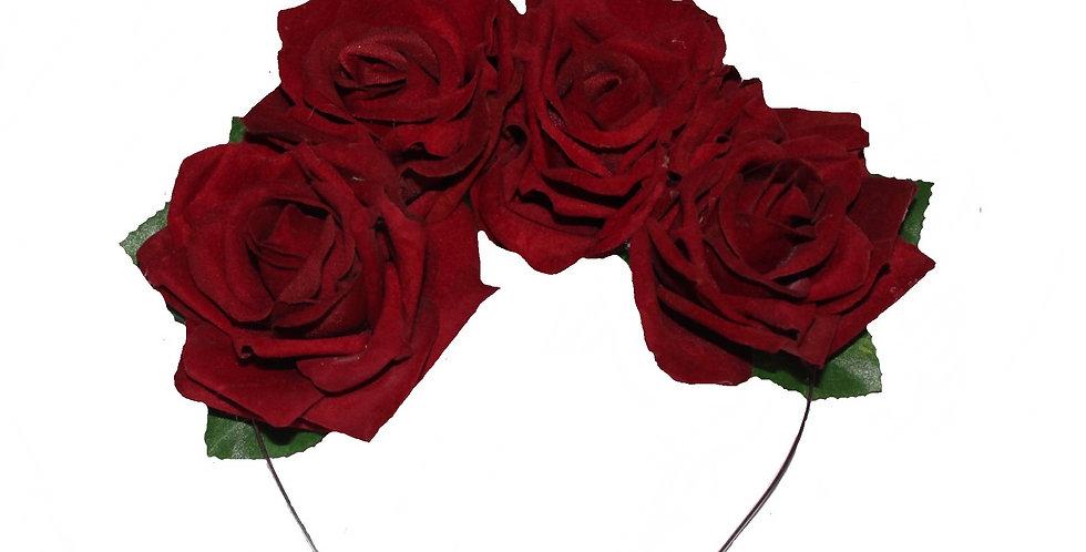 BERNIE Velvet Red Rose Crown