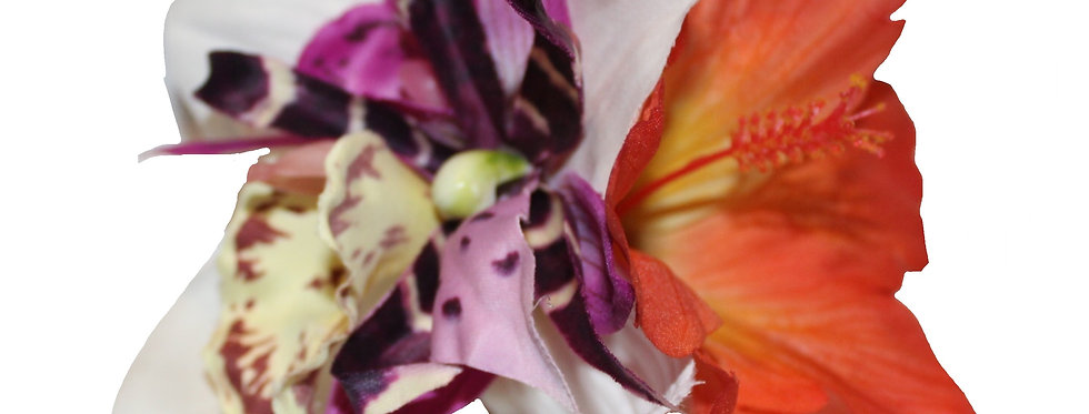 Purple and Orange Spider Orchid and Hibiscus Hair Flower
