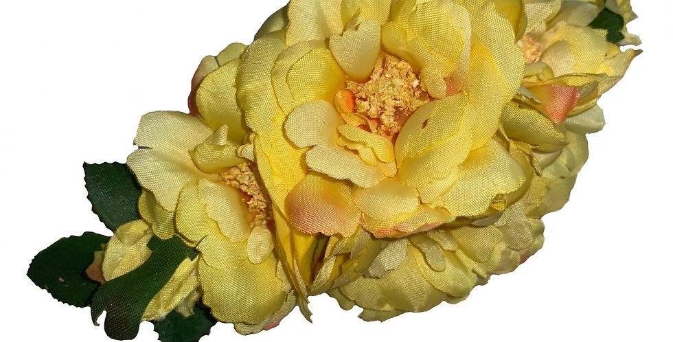 AMELIA Yellow Peony Hair Flower