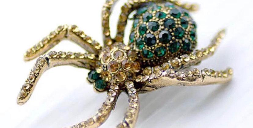 Rhinestone Spider Brooch - Emerald Green