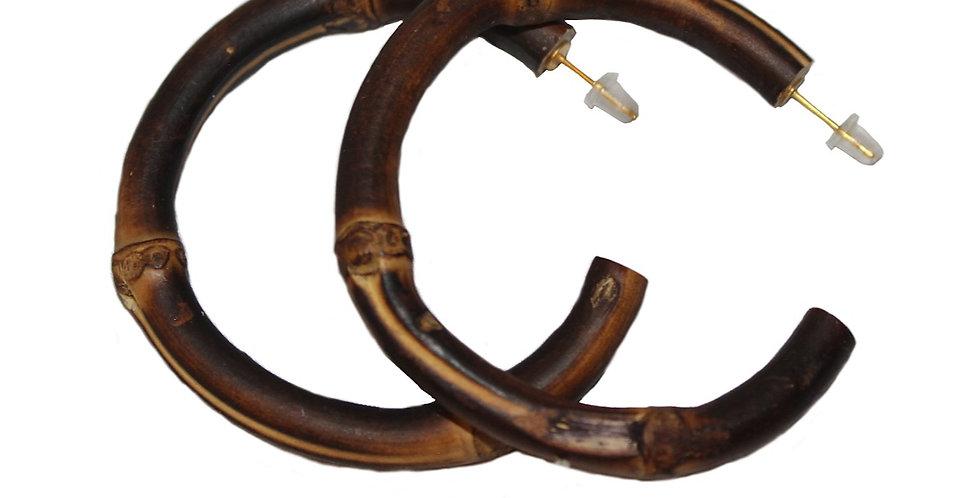 Round Bamboo Stud Hoop Earrings (Burnt Wood)
