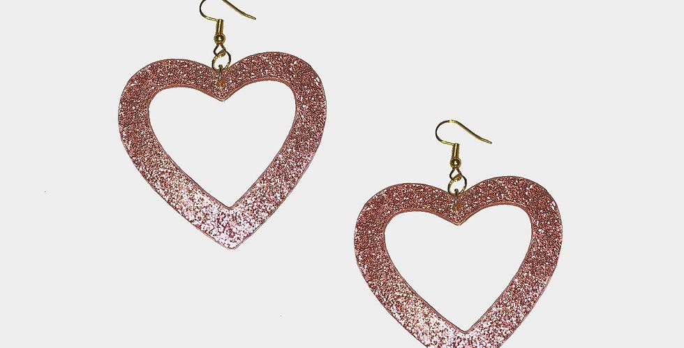 Pink Glitter Heart Earrings