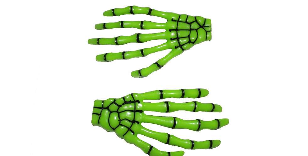 Green Skeleton Hand Halloween Hair Slides