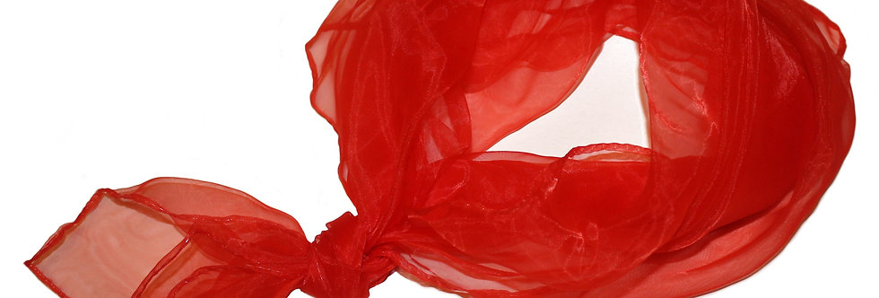 Red Sheer Square Chiffon Scarf