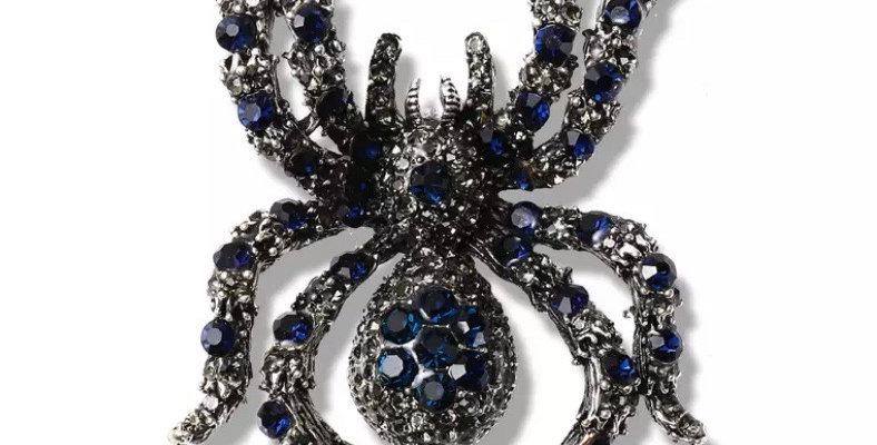 Rhinestone Spider Brooch - Royal Blue