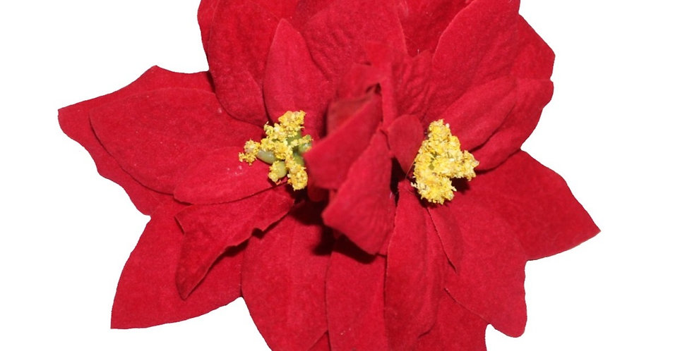 Red Double Poinsettia Christmas Hair Flower