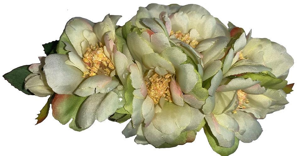 AMELIA Green Peony Hair Flower