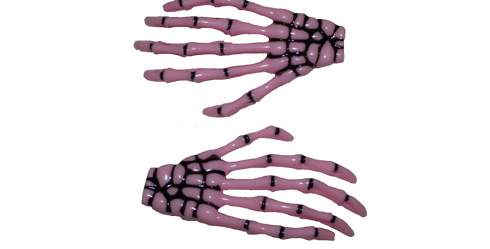 Pink Skeleton Hand Halloween Hair Slides