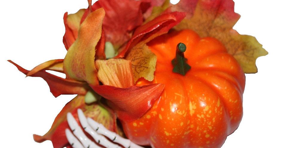 Pumpkin Autumnal Skelton Hand Hair Piece
