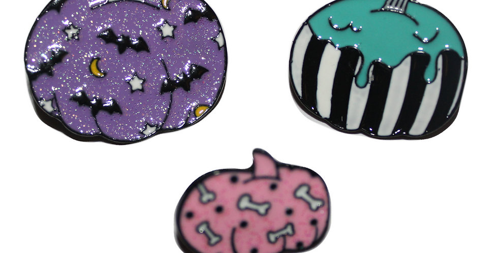 Pumpkin Enamel Pin Badges (set of three)