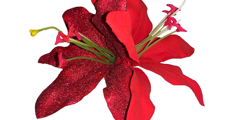 PALOMA Hand Painted Red and Glitter Double Lily