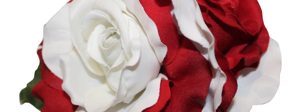 ANITA Special Edition Red and White Double Rose Hair Flower