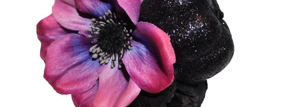 Halloween Black Glitter and Purple Anemone Hair Flower
