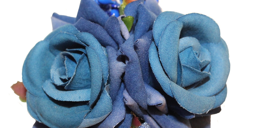 ELLEN With Berries Small Double Rose Hair Flowers - Blue