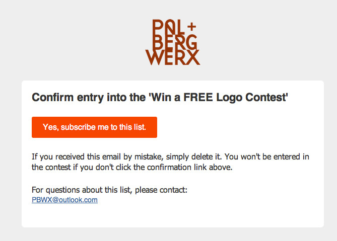 PalbergWERX confirmation entry into the win a free logo contest in Vancouver