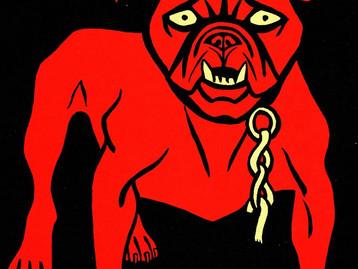 SIMPLICISSIMUS - A red bulldog stares menacingly through stone-cold white eyes