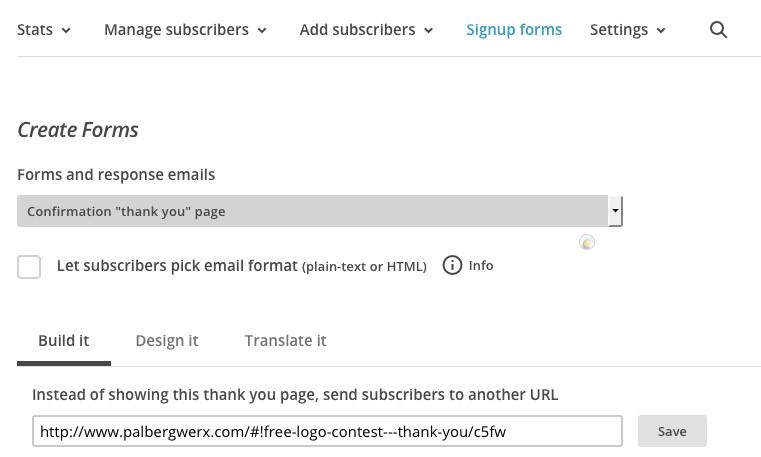 PalbergWERX logo contest form on mailchimp