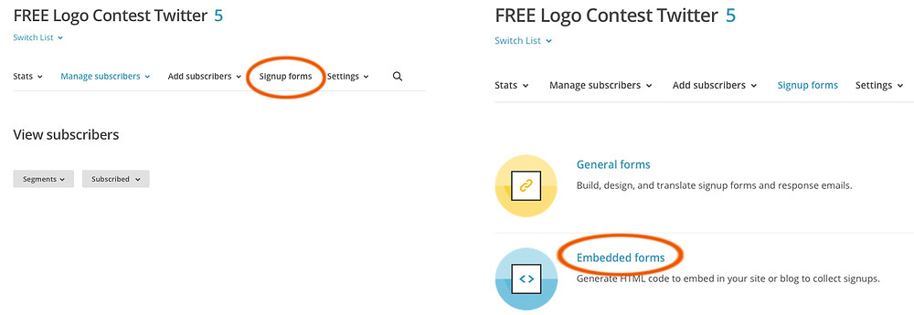 PalbergWERX mailchimp logo design contest settings
