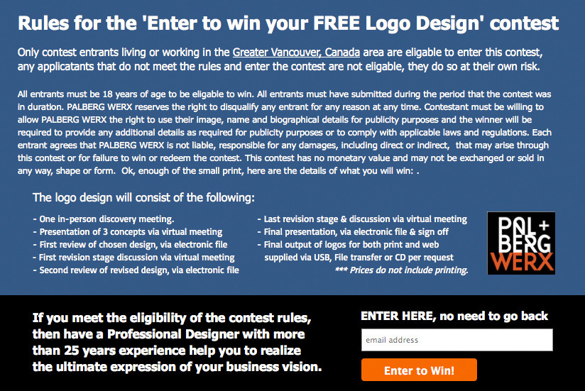 PalbergWERX local vancouver free logo design contest rules page