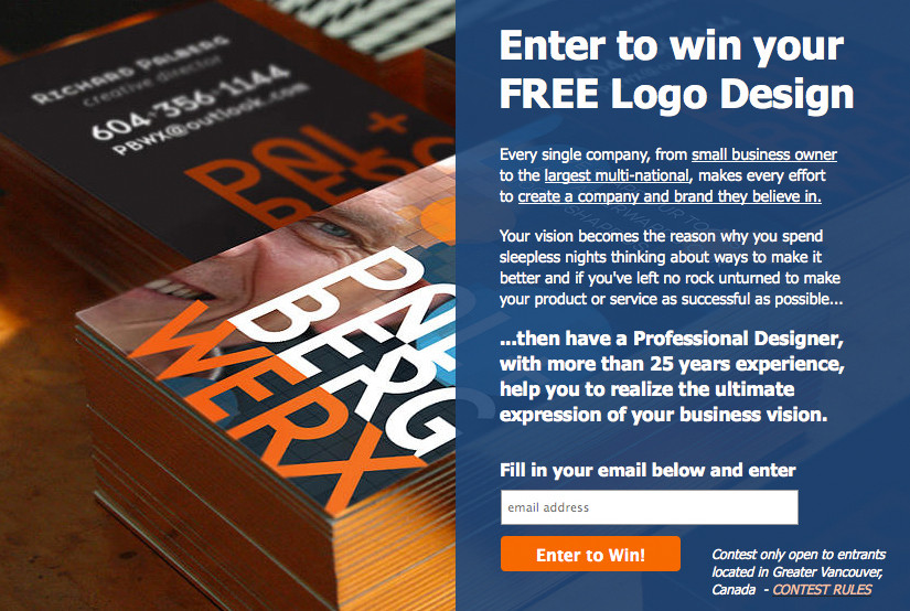 PalbergWERX enter to win free logo design contest page