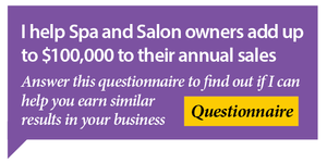 I help spa and salon owners add up to $100,000 to their annual sales