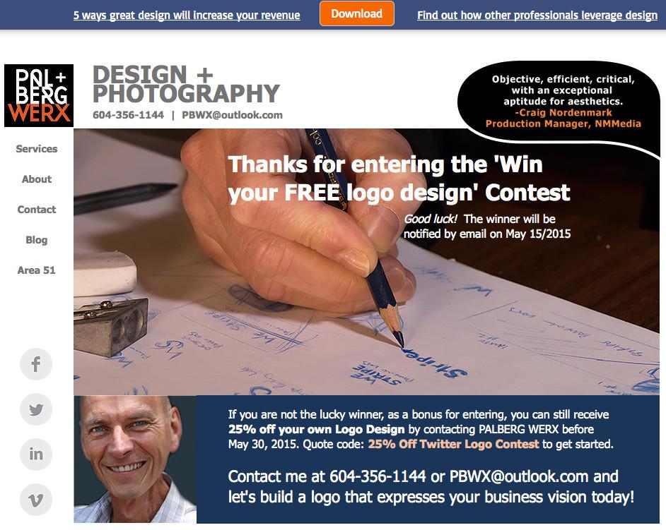 PalbergWERX logo design contest thank you page