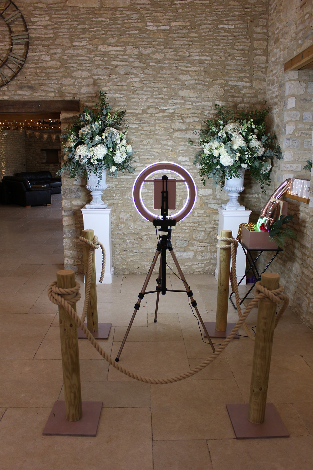 Photo booth set up at wedding venue Caswell House