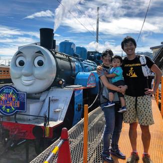 トーマス列車に大興奮。