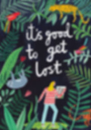 It's Good to Get Lost, greetings card, illustration, botanical, jungle, nature, animals, leopard