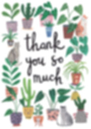 thank you card, plants, pot plants, cats, plants and cats, greetings card