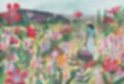 Walk in a flower field