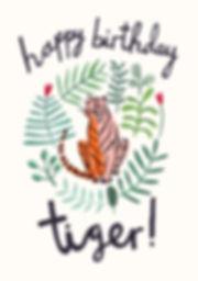 Happy Birthday Tiger, tiger, illustration, plants