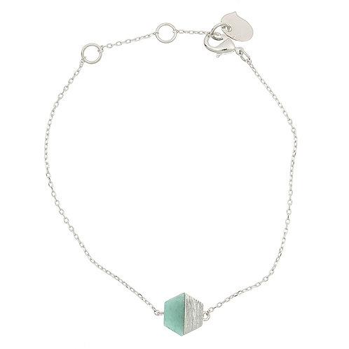 Hexagon w/stone BR., silver Green Jade