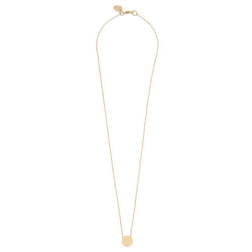 Brushed circle necklace 02-Gold plated