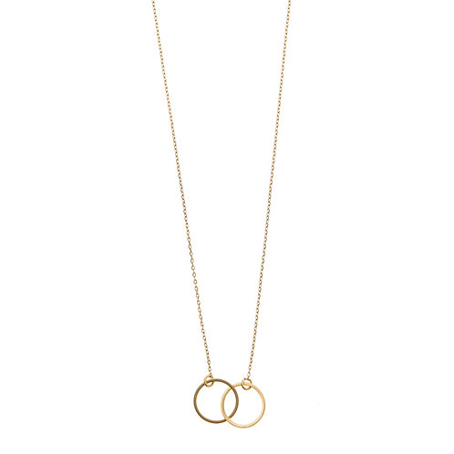 Double Circle Necklace 02-Gold plated