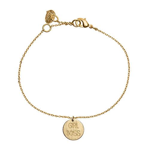 Girl Boss Plate Bracelet 02-Gold plated