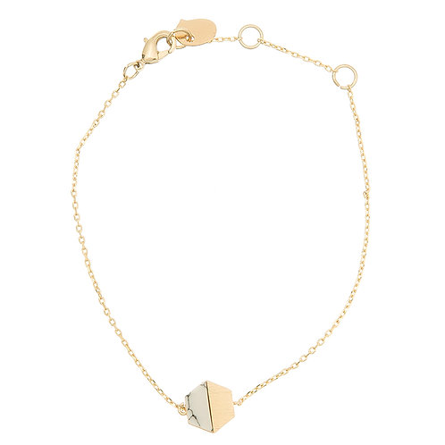 Hexagon w/stone BR., gold Marble