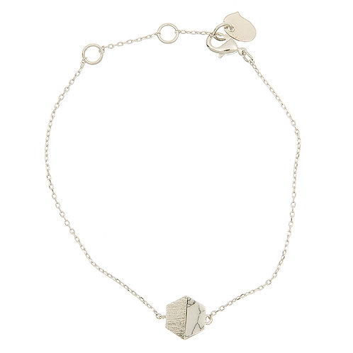 Hexagon w/stone BR., silver Marble