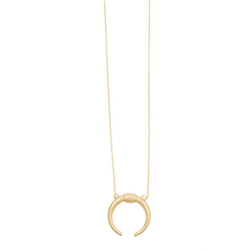 Big horn long necklace 02-Gold plated