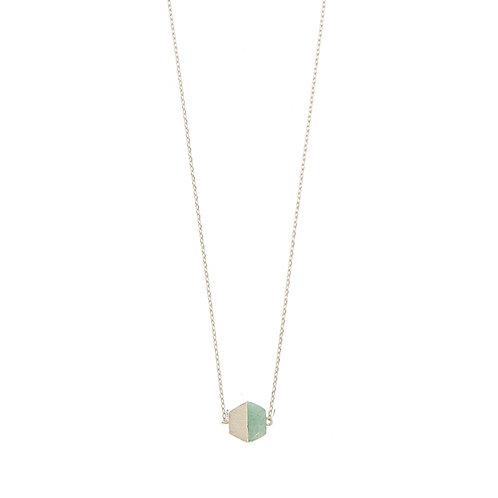 Hexagon w/ stone NL, silver Green Jade